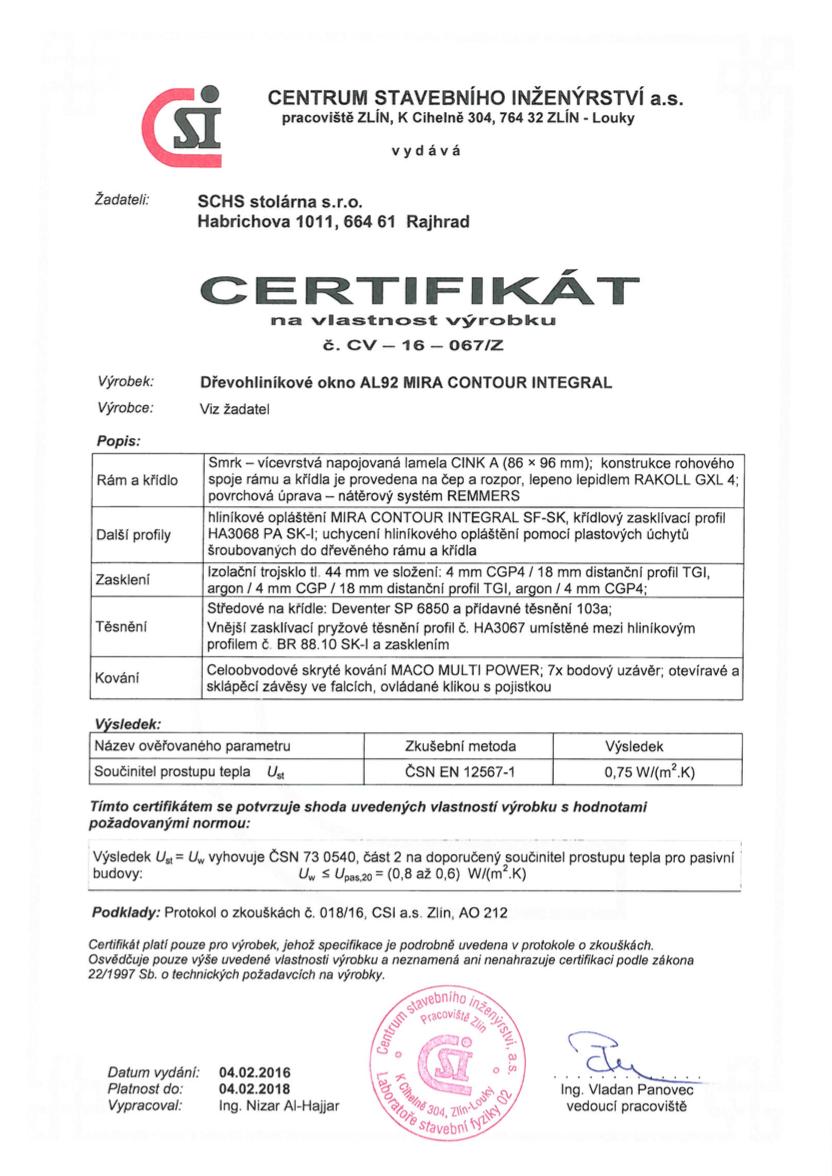 Certifikát SCHS 92 Aluintegral