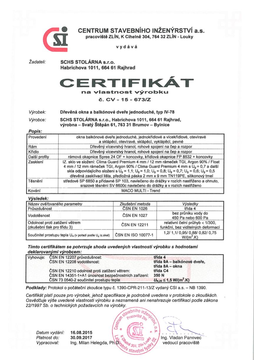 Certifikát IV78
