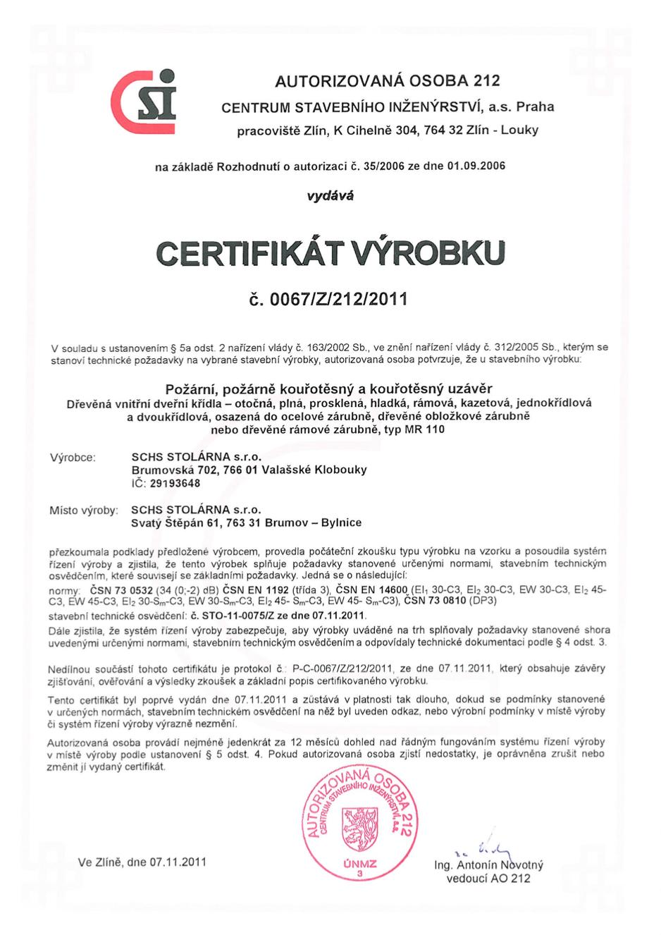 Certifikát protipožár