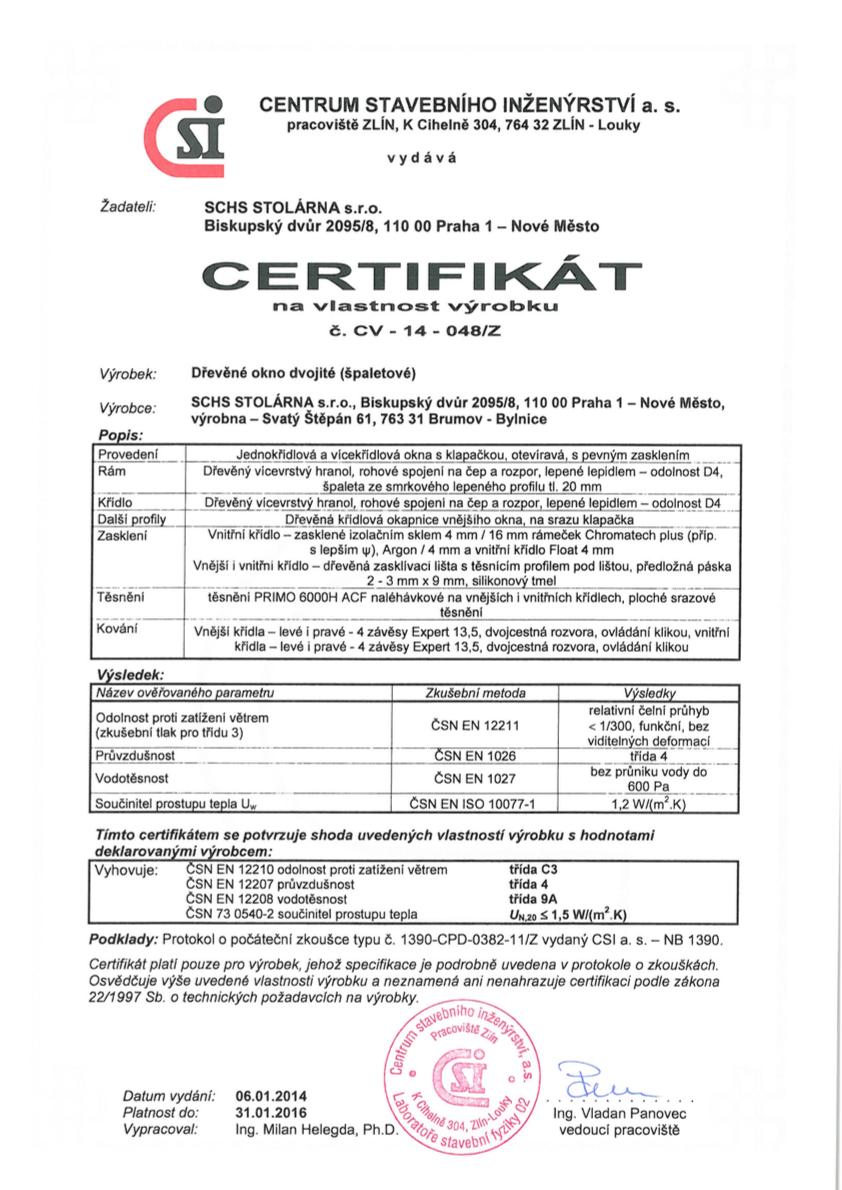 Certifikát špaletová okna
