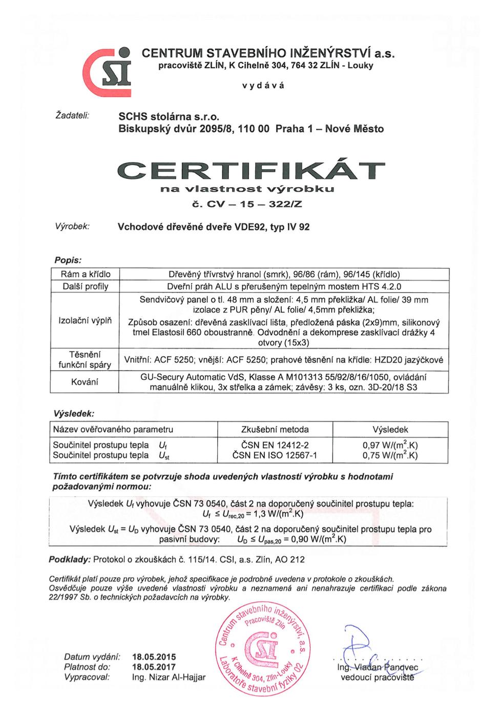Certifikát vstupní dveře IV92